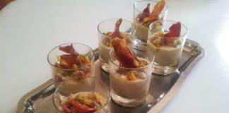 Recette de Verrines à la crème mogettes aux petits légumes et chips au jambon vendéen